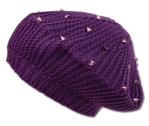 Sakkas 29071RB Spike Studded Knit Slouch Fashion Beret - Purple - One Size