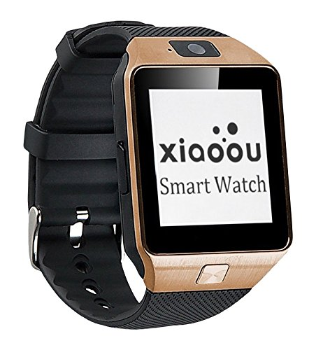 Xiaoou Smartwatch DZ09 Bluetooth Smartwatch DZ09 With Camera Support SIM Card TF Card for IOS Samsung Android Cell Phones + 8GB Micro SD Card (Black hand+Gold dial)