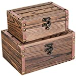 Set of 2 Rustic Torched Wood Finish Decorative Nesting Boxes / Jewelry & Trinket Storage Chests w/ Latch 6