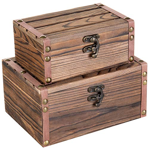 MyGift Set of 2 Rustic Torched Wood Finish Decorative Nesting Boxes/Jewelry & Trinket Storage Chests w/Latch (Small Nesting Box)