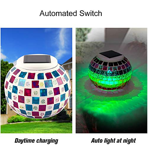Mosaic Glass Outdoor Solar Power Light Color Changing Lawn Ball Lantern Led Light Yard Garden Holiday Decoration Lighting Lamps Access Control