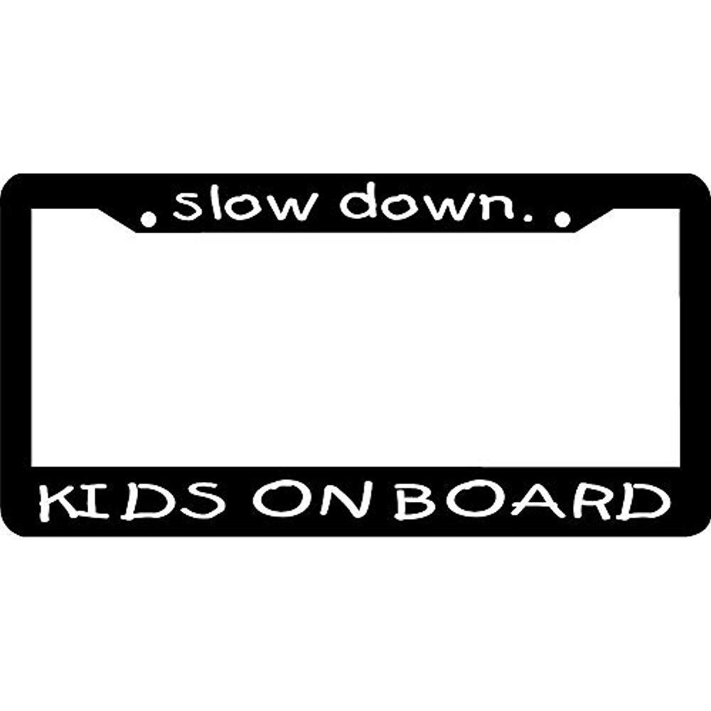 Auto Decorative Frames Black License Plate Frame Aluminum Metal Car Tag Frame 2 Holes and Screws Humor Funny License Plate Frame Cover Holder