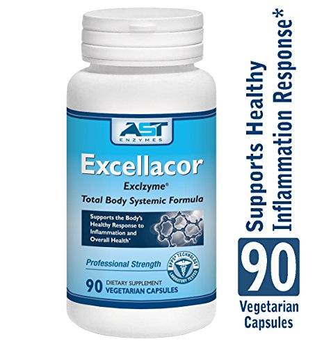 Excellacor - Proteolytic Systemic Enzymes Formula - with Enteric-Coated Serrapeptase - Total Body Support - 90 Vegetarian Capsules - AST Enzymes