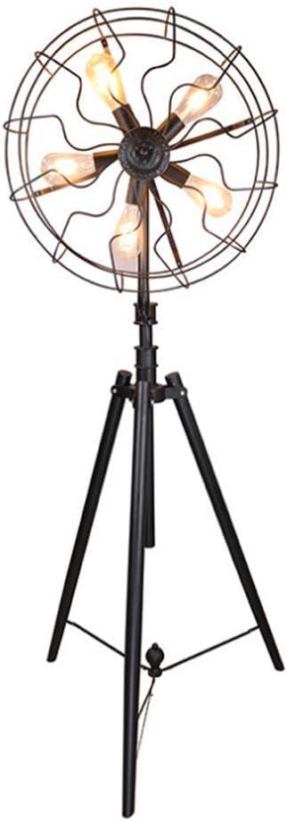 Lámpara de pie Ventilador retro industrial Lámpara de suelo trípode de hierro forjado negro lámpara de piso 1.7 M con interruptor de pie para bar Café Restaurante Salón Dormitorio Oficina Estudio