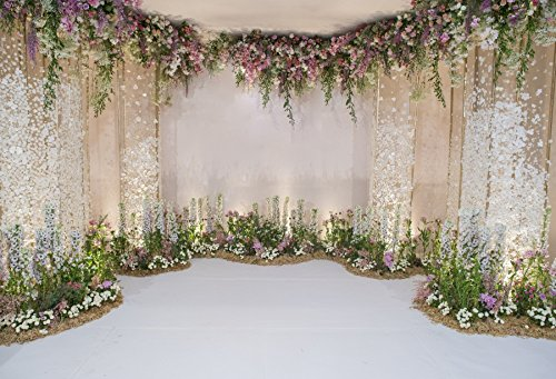 Spring Wedding Decorations - Laeacco Wedding Backdrops 10x6.5ft Flower and Wedding Decoration Photography Background Fresh Flowers Spring Indoor Chic Wall White Floor Cemeony Celebration Girls Adult Portrait