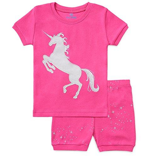 Bluenido Girls Unicorn and Crown Shorts 2 Piece Pajama 100% Soft Cotton,7 Years,Pink / Grey