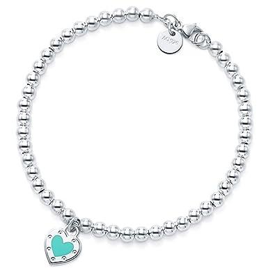 d9853f22b3 TTBRAND Blue Love Heart Pendant Bracelet in Silver Enamel Finish ...