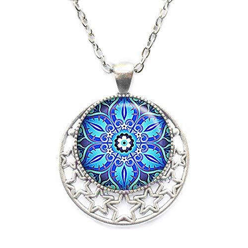Moroccan Tile Design Glass Necklace, Moorish Design Necklace, Blue and Turquoise Necklace Blue Necklace Symbolic ()