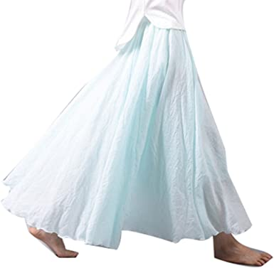 WEIMEITE Algodón Lino Falda Maxi Mujer Cintura Elástica Sólido Vendimia Plisado Faldas Largas Mujeres Chica Boho Falda Playa: Amazon.es: Ropa y accesorios