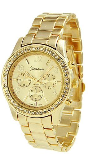 Crystal Gold Tone Metal - Geneva Chronograph Look Watch with Crystals..Gold Tone Metal Link