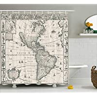 Ambesonne Wanderlust Decor Shower Curtain Set, Image of Antique Map America in 1600S World in Medieval Time Ancient Era Retro Home Decor, Bathroom Accessories, 69W X 70L Inches, Cream Grey