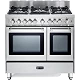 Verona VEFSGG365NDSS 36 Pro-Style Gas Range with 5 Sealed Burners 2 Turbo-Electric Convection Ovens Manual Clean Infrared Broiler Bell Timer and Storage Drawer in Stainless