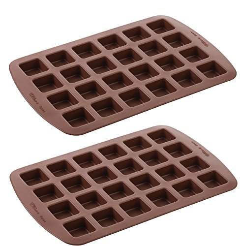 Wilton 2105-4923 24-Cavity Silicone Brownie Squares Baking Mold (Set of 2)