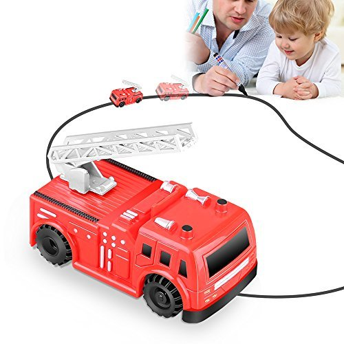 Huibudch Magic Inductive Truck Line Car Toy Cars Magic Mini Car Children's Gift Toy for Kids (Fire Truck)