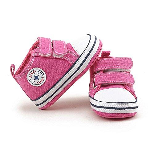Itaar bebé lienzo zapatillas Classic Infant Toddler entrenador de doble correa antideslizante suela de goma zapatos de Prewalker hot pink Talla:6-12 meses hot pink