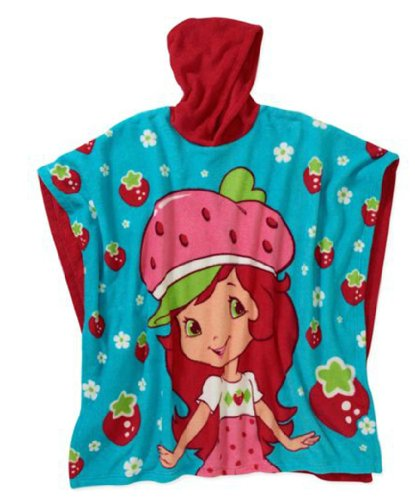 Little Girl's Character Hooded Poncho - One Size (Strawberry -