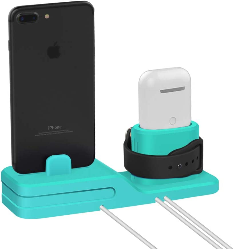3 in 1 Premium Silicone Stand Compatible for Airpods /& iWatch /& iPhone USSJ Phone Stand Charging Dock Blue