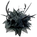 ELEGANT JET BLACK TULLE   FEATHER COMB FASCINATOR WEDDING PARTY ... 69eccd45a45