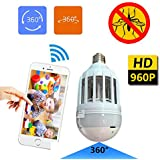 OMZBM Panoramic Light Bulb Camera Fisheye Camera 360 Degree Intelligent Video WIFI Remote Control With Kill Mosquito APP Remote Home Security Surveillance System