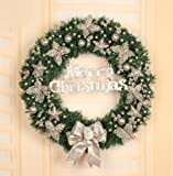 Christmas decorations 30/50/60/80cm Christmas wreath decorations christmas shop window decoration (80cm, Silver)