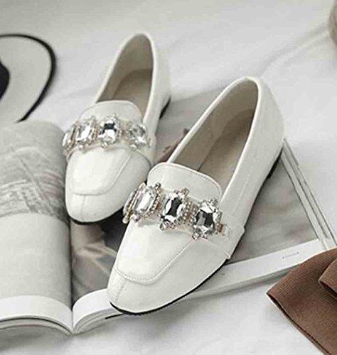 Aisun Naisten Tasainen Loafers Patentti Alhainen Neliön Toe Alkuun Strassit Valkoinen 11rwqA