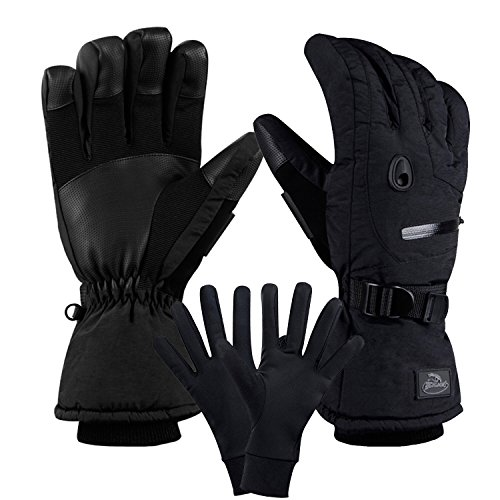 CAMYOD Men Waterproof Skiing Snowboarding Gloves with Zipper Pocket, Air Vent, Separated Liner Gloves-2 Pairs Set(2-Pair,M) (Snowboarding Set Women)