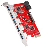 QNINE 5 Port USB 3.0 PCIe Expansion Card, PCI USB 3 Card with 15-Pin Power Connector and Internal 20-Pin Connector for Expand Another 2 USB, PCI Express Internal USB Hub Adapter for Desktop PC