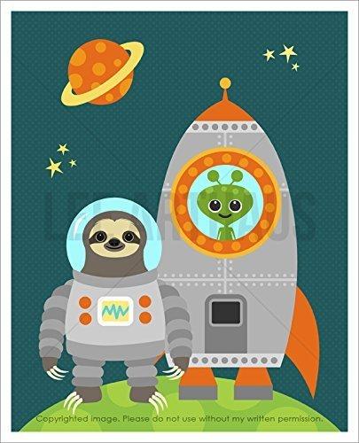 18J - Astronaut Sloth With Green Alien In Rocketship Unframed Wall Art Print By Lee Arthaus - Sloth Art