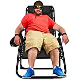 Ezcheer Zero Gravity Chair Oversized,420 lbs Weight Capacity Patio Lounge Chair, Folding Beach Chair Recliner 31.5 inch Extra Wide Seat Yard Chair with Cup Holder(1 Pack)