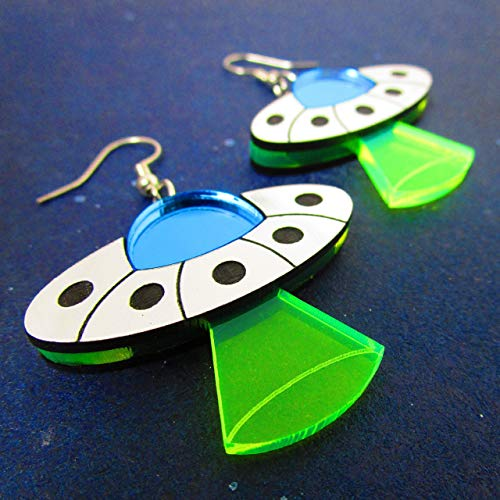 Flying Saucer UFO Dangle Earrings, Alien Spaceship with Abduction Beam Statement Stainless Steel Rave Earrings