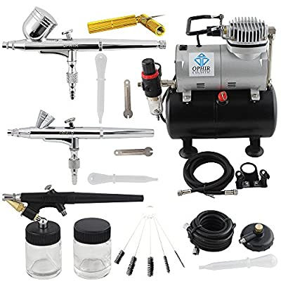 OPHIR 110V Pro Air Tank Compressor with 0.2mm 0.3mm 0.8mm Air Brush & Cleaning Kit for Model Hobby Painting Body Tattoo Airbrush Set