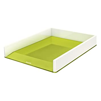 Leitz Bandeja de sobremesa WOW con combinación dual de color, A4, Blanco/Verde