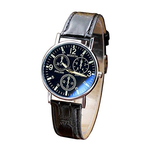 Nadition Watches Clearance !!! Watches Quartz Men's Watch Blue Glass Belt Watch Men (Black)