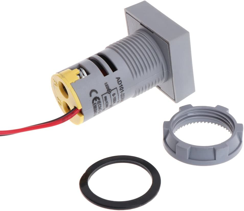amper/ímetro digital Sweo Amper/ímetro digital de 22 mm 0-100 A indicador de corriente luz de se/ñal cuadrada l/ámpara LED