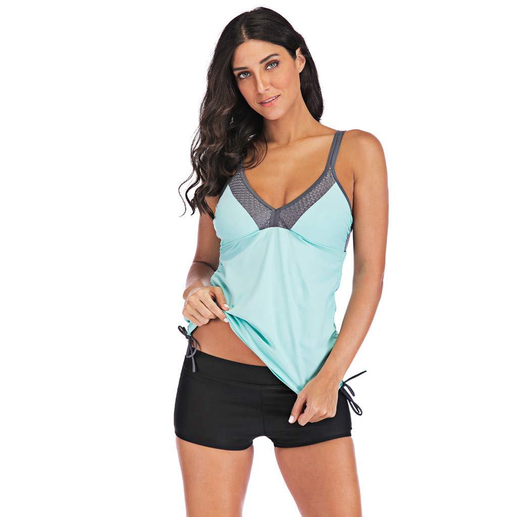 Rambling Womens Printed Conservative Flowy Tankini Swimsuit Set Plus Size