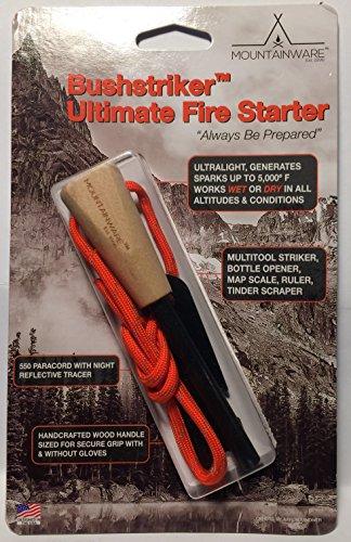 MOUNTAINWARE, Bushstriker Ultimate Fire Starter | Bushcraft Fire Steel | Survival Ferro Rod Firestarter with Fire Branded Hardwood (Rod Grids)