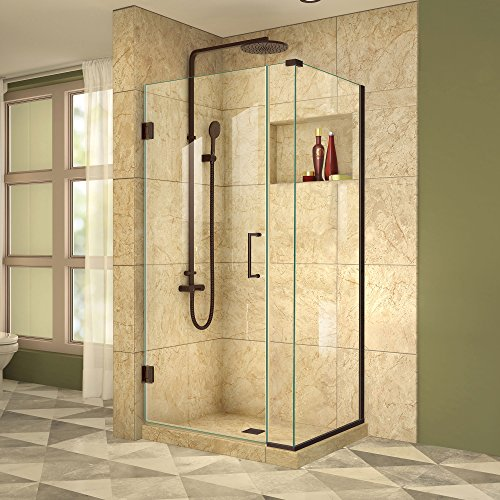 DreamLine Unidoor Plus 35 in. W x 34 3/8 in. D x 72 in. H Frameless Hinged Shower Enclosure, Clear Glass, Oil Rubbed Bronze, (Dreamline Amazon Shower Enclosure)