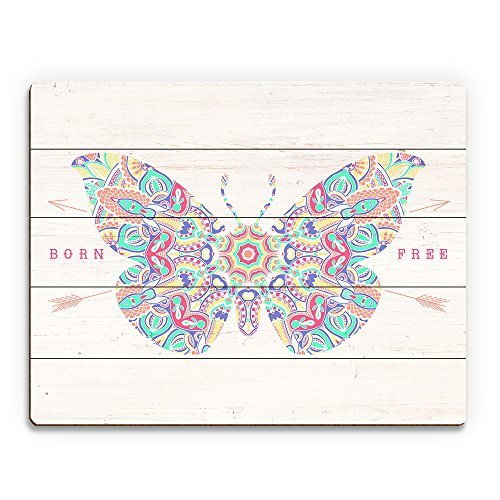 Born Free - Spiritual Butterfly Mandala with Arrows on White Woodgrain-pattern Wall Art Print on Wood