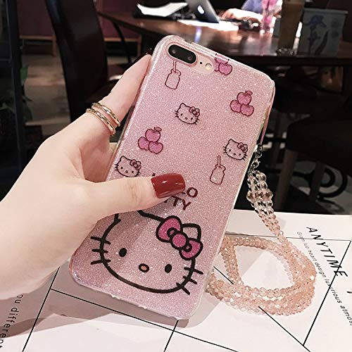 iPhone Xs Max 6.5-inch Glitter Bling Cartoon Case for iPhone Xs Max 6.5-inch Bling TPU Cover Cute Funda Coque Case with Gem Stone Diamond Lanyard ...