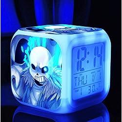 Cute Cartoon Undertale Sans and Papyrus Cartoon Game Digital Alarm Desktop Clock with 7 Changing LED Clock (Style 2)