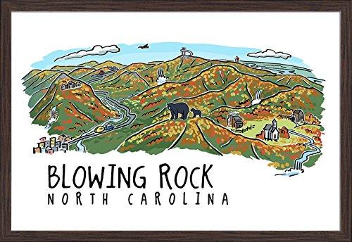 Blowing Rock, North Carolina - Line Drawing (36x24 Giclee Art Print, Gallery Framed, Espresso Wood) (North Carolina Blowing Rock)