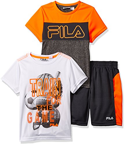 (Fila Little Boys 3 Piece Athletic Set, Shocking Orange/Charcoal Grey 5)
