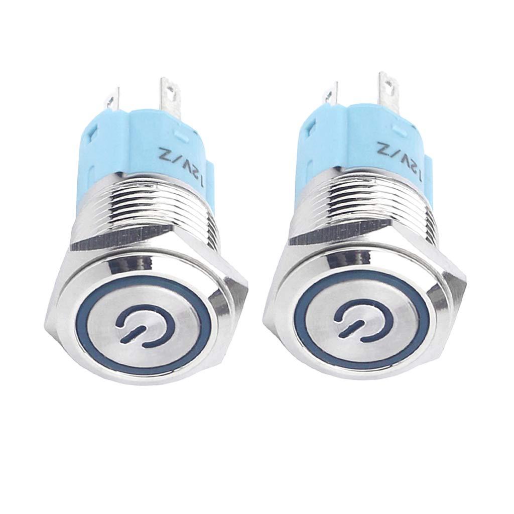 White+Light Blue perfk 16mm Stainless Steel Momentary Illuminated Push Button Switch Ring Light Power Symbol Glow Self-Locking