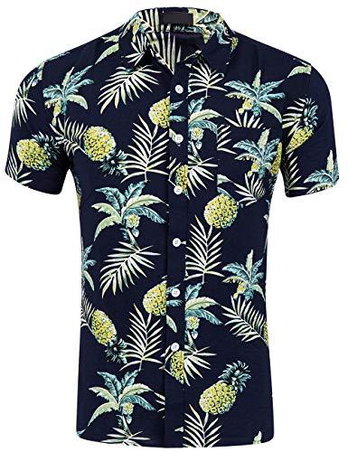 Patterned Linen Shirt - DOKKIA Men's Dress Tropical Short Sleeve Beach Party Luau Aloha Hawaiian Shirt (Pineapple Black Yellow Leaves, X-Large)