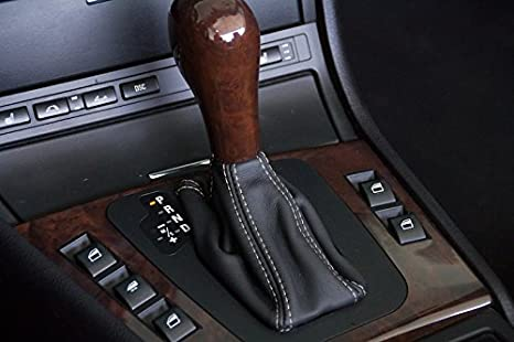 Compatible with BMW 3-Series E46 1999-04 RedlineGoods Shift Boot STEPTRONIC Black Leather-Tan Thread