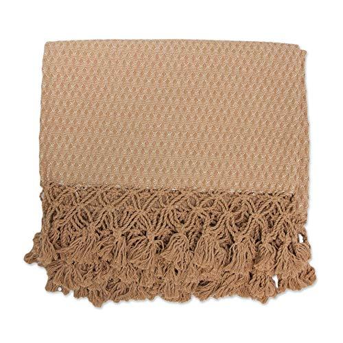 NOVICA Brown Cotton Geometric Throw Blanket, Ubatuba Beauty'