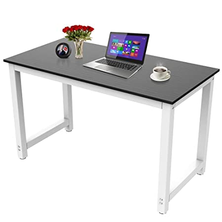 Yaheetech 47 Computer Desk Writing Table for Home and Office, PC Laptop Office Table, Workstation Study Writing Modern Desk, Modern Simple Dining Table, Wood Top Metal Legs, Black