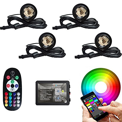 4pc 108W COB LED Boat Light RGB bluetooth LED Boat Lights with Bluetooth Controller,DIY,Music Mode - 4 Pods Ip68 Water-proof Marine Boat Drain Plug LED Light Underwater Lights Waterproof Boat light (150 Round Pod)