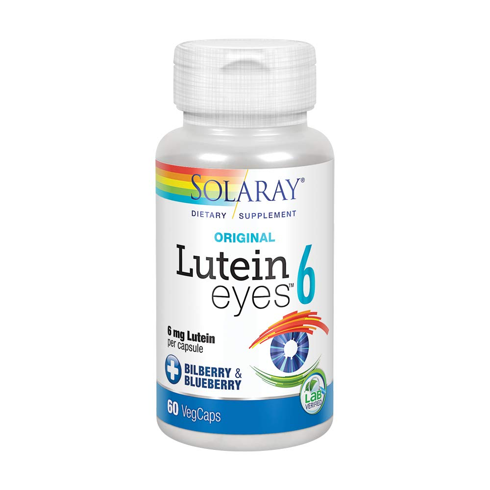 Solaray Original Lutein Eyes, 6 mg   Eye & Macular Health Support Supplement w/Naturally Occurring Lutein and Zeaxanthin   Non-GMO   Vegan (60 CT)