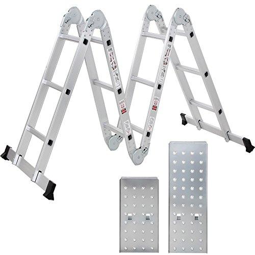 Songmics Mehrzweckleiter 4 x 3 Sprossen mit Metall-Plattform bis 150kg EN131 6 in 1 Funktion GLT36M